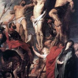 Jesús crucificado es atravesado por la lanza