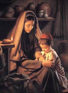 María y el niño Jesús en Nazaret
