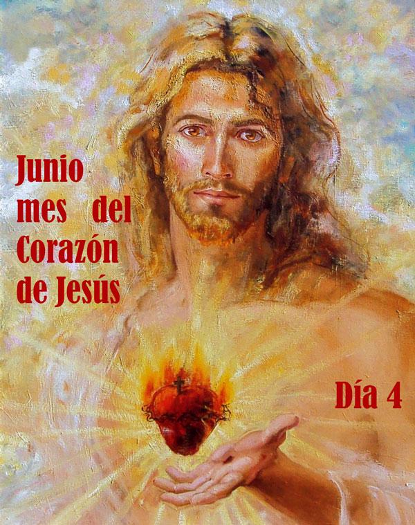 Corazón de Jesús,imagen para el día cuatro del mes del sagrado Corazón de Jesús